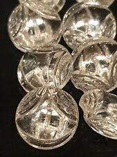 JOB LOT SET OF 10 VINTAGE ART DECO CLEAR GLASS 3D SWIRL PATTERN 13.1MM BUTTONS