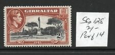 GIBRALTAR  George VI 2/- SG128 , 14 perfs lightly hinged condition cat. £65.