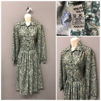 Vintage Green Paisley Pleated Dress Size UK 12 EUR 40 US 8 with Wool