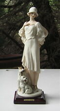 BEAUTIFUL LADY WITH A WEST HIGHLAND WHITE TERRIER AND A FOX TERRIER FIGURINE