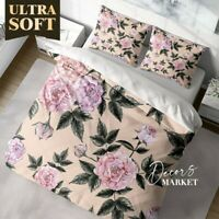 Pastel Blossom Roses Floral Patterns Quilt Cover Single Bed Double Queen King