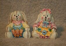"""Easter Resin Soft Sculpture Bunny Rabbits Sitting - set of 2 - 2"""" Tall"""