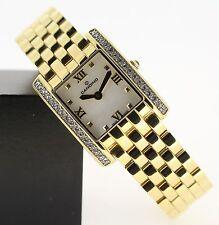 Vergoldete Armbanduhren aus Edelstahl mit 12-Stunden-Zifferblatt und Rechteck