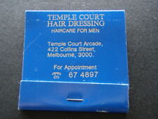 TEMPLE COURT HAIR DRESSING HAIRCARE FOR MEN 422 COLLINS ST 674897 MATCHBOOK
