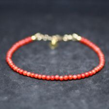 Natural Smooth Orange Red Coral Skinny Bracelet 14K Gold Filled 35th Anniversary