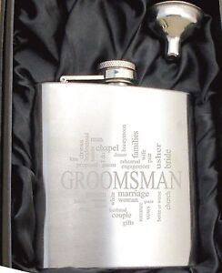 Personalised HF504 Engraved Groomsman 6oz Hip Flask with Funnel and Gift Box