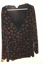 Dressbarn Slinky Travel Knit Black & Brown Tunic Top Attached Black Shell 22/24