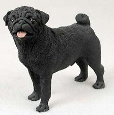Pug (Black) Dog Figurine Statue Hand Painted Resin Gift Pet Lovers Tan