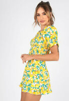 Womens Lemon Print Cotton Shirred Summer Vacation Top With Puff Sleeves