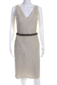 Lela Rose Womens Sequin Beaded V Neck Sleeveless Sheath Dress Beige Size 6