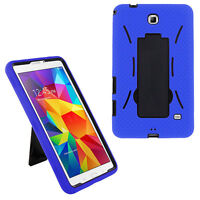 Heavy Duty Hybrid Cover Case for Samsung Galaxy Tab 4 7 7.0 T230 T237 (Blue)