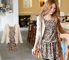 2015 Women's Sweet Long Sleeve Floral One Piece Mini Dress With Cardigan