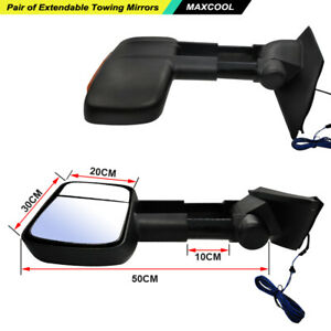 Extendable Towing Mirrors For Mazda BT-50 2012-ON Black Pair With Indicators