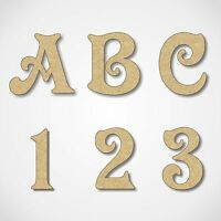 MDF Letters Numbers Wooden Decoration Words 3mm Thick MDF Victorian Alphabet
