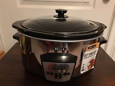 Bella Programmable Slow Cooker Crock Pot Oval 5 Quart Large Stainless Steel