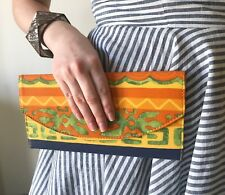 BOHO ETHNIC AFRICAN PRINT ORANGE YELLOW BLUE PATTERNED ENVELOPE CLUTCH BAG PURSE