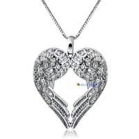 Fashion Jewelry Women Angel Wing LOVE Heart Silver Pendant Necklace Gift HOT MT