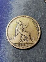 1862 Great Britain One Penny Coin Queen Victoria #24