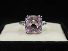 8.42 Ct. Cushion Kunzite Ring Art Deco Style Sterling Silver
