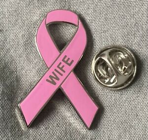 Breast Cancer 'Wife' pink awareness ribbon enamel pin badge / brooch. Charity