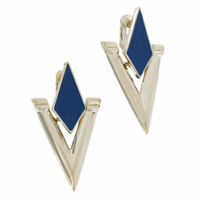 Avante' Clip On Earrings Silver Tone Retro Geometric Doorknocker USA Blue 2""