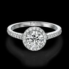 1 CT Halo Diamond Engagement Ring Enhanced Round Cut D/VS2 18K White Gold
