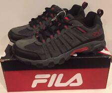 Men's Fila Westmount Trail Running Hiking Sneaker, Grey/Black/Red Size 8.5 NIB