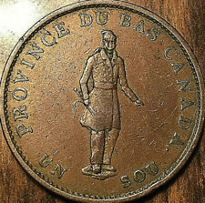 1837 LOWER CANADA HALFPENNY BANK TOKEN UN SOU - City bank ribbon - Really nice!