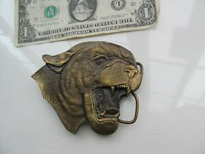 Super, Detailed Vintage 1972 Cast Bronze MOUNTAIN LION BELT PLATE, Buckle, GIFT