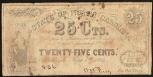 1862 NORTH CAROLINA 25 CENT NOTE FRACTIONAL CURRENCY OLD PAPER MONEY