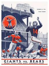 NY Giants vs Chicago Bears **LARGE POSTER** 1956 NFL Football New York Playoff