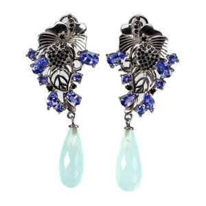 Briolette Cut Blue Dyed Chalcedony Tanzanite Black Spinel 925 Silver Earrings Nr