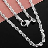 "Solid 925 Sterling Silver 3mm Diamond Cut Twisted Rope Chain Necklace 16-30"" UK"