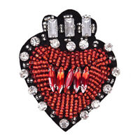 Rhinestone Beaded Heart Shaped Patch for Clothing Sewing on Beading Applique RD