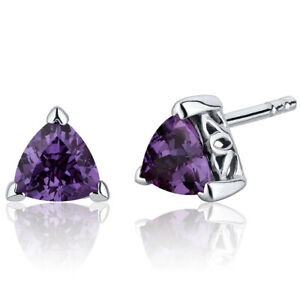 2 CT Triangle Color Changing Alexandrite Sterling Silver Stud Earrings