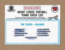 1977 SCANLENS BALMAIN TIGERS TEAM CHECKLIST NRL RUGBY LEAGUE FOOTY TRADING CARD