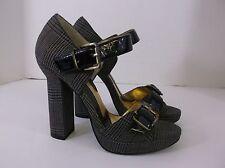 ZINC Heels Black Gray Plaid size 5 Patent Leather strap open toe