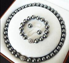 12MM Dark Gray AAA + South Sea Shell Pearl Necklace Bracelet Earring Set LL003