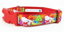 "Hello Kitty Christmas dog collar Handmade adjustable buckle collar 1"" wide leash"
