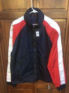 Tommy Hilfiger Denim Men L Color Block Spellout Nylon Hooded Jacket NWT New