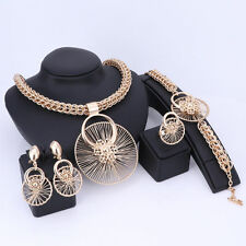 Gold Plated Spoke Wheel on a Ring with Thick Box Chain 4 pieces Jewelry Set