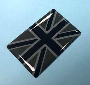 UNION JACK FLAG Sticker/Decal 40mm - BLACK & 2 TONE GREY - HIGH GLOSS DOMED GEL