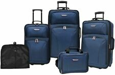 Luggage Set, Telescopic Handle System and Inline Skate Wheels, Navy (5-Piece)