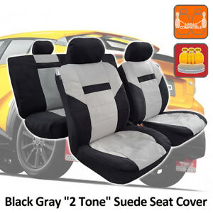 Black Gray 2 Tone Suede Velour Airbag Universal Fit Seat Covers For Toyota CHR