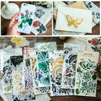60pcs Label Diary Paper Sticker Scrapbooking Plants Flowers Stickers Phone Decor