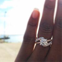 Elegant 925 Silver Filled Wedding Rings for Women White Sapphire Ring Size 6-10