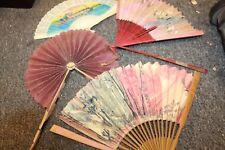 Vintage Hand Fans Lot Wood plastic Metal Paper lot of 4 oriental, St. Louis