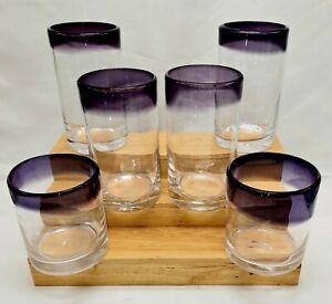 Mexican Glass Hand Blown PURPLE RIM Set 4 Tumblers & 2 Rocks Glasses VERY NICE