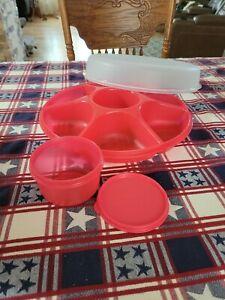 Tupperware Serving Center Set Removable Bowl Watermelon Pink veggie/fruit tray