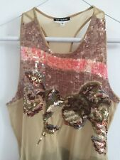 GF Ferre Women Sexy Club Party Top Blouse Beige Multicolor Sequined S Small